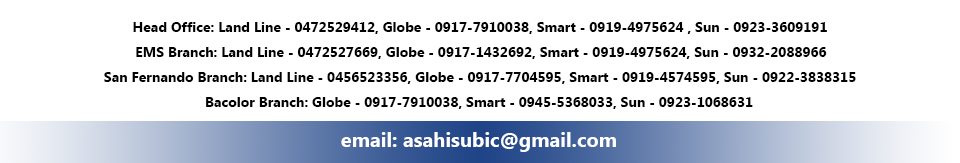 Asahi Subic car and truck yard's landline phone, Smart, Globe and Sun numbers